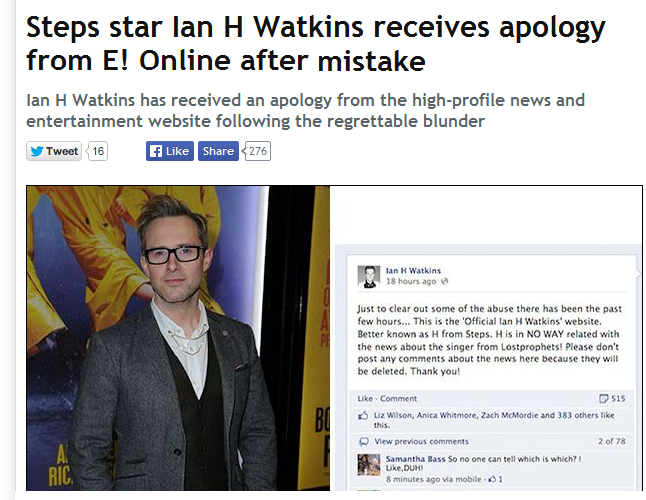 the apology of Ian H watkins