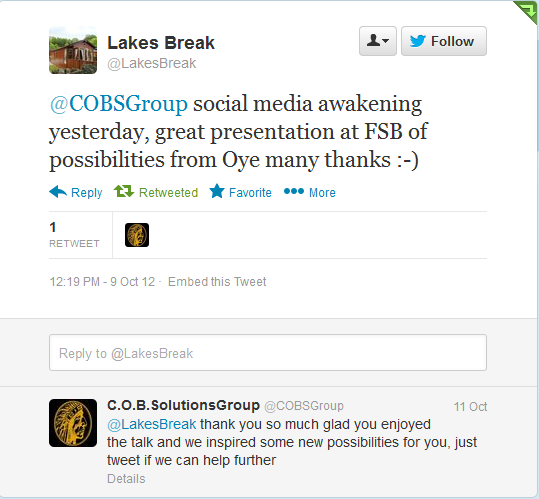Chief online business solutions group COBS GROUP twitter endorsements 2